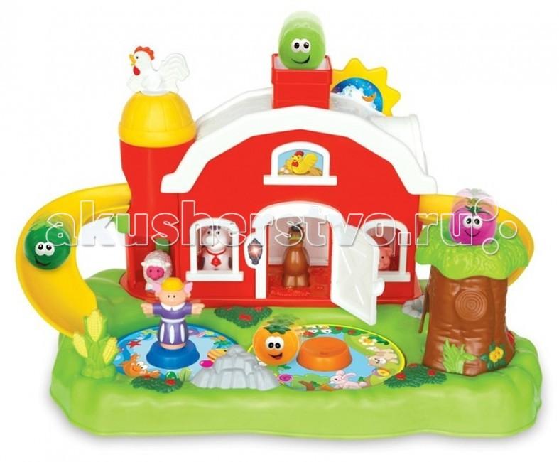 Kiddieland Развивающая игрушка Фермерский дворикРазвивающая игрушка Фермерский дворикKiddieland Развивающая игрушка Фермерский дворик - представляет собой зеленую лужайку, на которой разместились ферма, дерево, пруд и клумба.  Дверь фермы открывается. Внутри живут зверушки - корова, лошадь, овца и свинья. На втором этаже - курица (кнопочка в форме курицы). Из трубы выглядывает петух. Еще на крыше есть подвижное солнышко.  С двух сторон от домика отходят желтые горки, очень похожие на бананы. Если бросить в трубу один из шариков, он выкатится на горку и спустится вниз с одной стороны, или выскочит из дерева - с другой.  Нажмите на петушка, чтобы услышать его приветствие, или передвигайте солнышко, чтобы услышать веселые звуки. Животные умеют подавать голос, также играет музыка, светятся лампочки.  Для работы требуются батарейки типа АА (входят в комплект).<br>