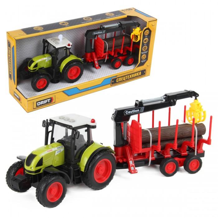 Машины Drift Трактор-погрузчик с прицепом для бревен Farmland 1:16