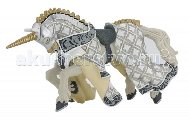 Игровые фигурки Papo Игровая реалистичная фигурка Конь рыцаря серебряного единорога