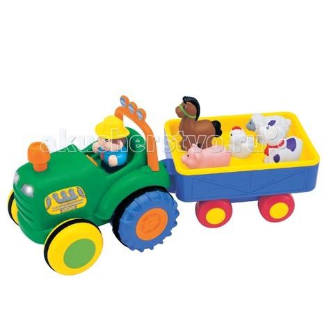Kiddieland Трактор фермера KID 049726Трактор фермера KID 049726Kiddieland Трактор фермера KID 049726 - яркая музыкальная игрушка на колесах, озвученная на русском языке, развлечет малыша мигающими огоньками, приятной музыкой и забавными звуками.  За рулем трактора сидит тракторист, он везет в прицепе пять домашних животных. Это корова, лошадь, овца, свинья, курица. Можно услышать голос каждой зверушки, стоит только их правильно расставить и нажать на каждую из них. Также кроха услышит стишок на русском языке, посвященный каждому пассажиру веселого трактора.  Если нажать на руль, то загорятся фары трактора и раздастся сигнал клаксона, звук мотора или веселые стишки.   Чтобы услышать забавную песенку, нужно нажать на фигурку тракториста.  Нажмите на трубу, и трактор с животными со звуком работающего двигателя отправится в путь. Повторное нажатие на трубу прервет движение. Фигурка тракториста и животных легко снимаются, ими можно играть отдельно.<br>
