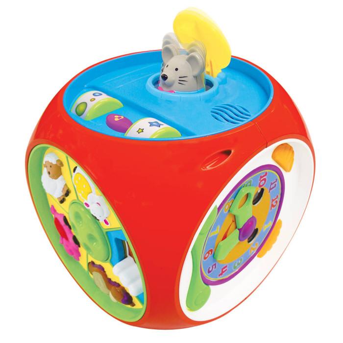 Развивающая игрушка Kiddieland Многофункциональный коробМногофункциональный коробРазвивающая игрушка Kiddieland Многофункциональный короб - оригинальная музыкальная и развивающая игрушка, настоящий игровой центр на русском языке.   На 6 сторонах куба расположены пианино с 8 разноцветными клавишами и кнопки, передающие звучание четырех различных музыкальных инструментов, изображения домашних животных с вставками из различных тканей, веселые часы, «мышиная норка» и музыкальный плеер со специальным диском, который проигрывает замечательные песенки об утренней зарядке.   Животные при нажатии читают стишки, из норки выпрыгивает смешная мышка и произносит считалку. Благодаря часам малыш научится соблюдать режим дня, а пианино познакомит его с удивительным миром музыки.   Для работы требуются 3 батареи АА (входят в комплект).   Размер игрушки: 36 х 15 х 26 см<br>