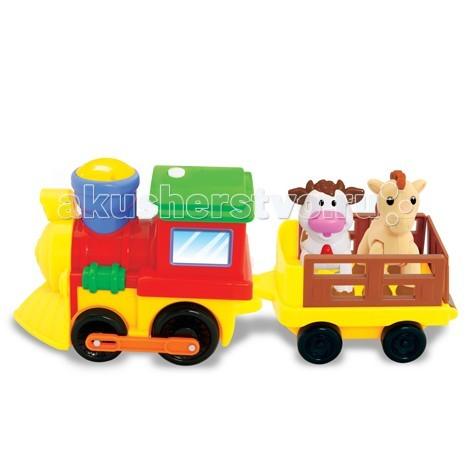 Развивающая игрушка Kiddieland Поезд с животнымиПоезд с животнымиРазвивающая игрушка Kiddieland Поезд с животными - со звуковыми и световыми эффектами движется вперёд под весёлую музыку и мигание разноцветных огоньков.  Вы готовы отправиться в увлекательное путешествие по железной дороге? Поезд состоит из локомотива и 1 открытого вагончика, в котором расположились коровка и лошадка.<br>