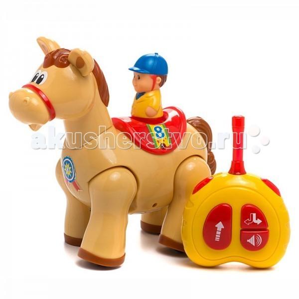 Интерактивная игрушка Kiddieland Пони с пультом управленияПони с пультом управленияИнтерактивная игрушка Kiddieland Пони с пультом управления - удивительная лошадка умеет скакать вперед и кивать головой в такт движениям.   Лошадка с помощью пульта дистанционного управления может скакать вперёд, кивая головой, с забавными звуками и весёлой музыкой (слышится цокот копыт, ржание) и разворачиваться на 360°!  Работает от 3-х батареек АА 1,5V (входят в комплект), пульт 2 батарейки АА 1,5V.<br>