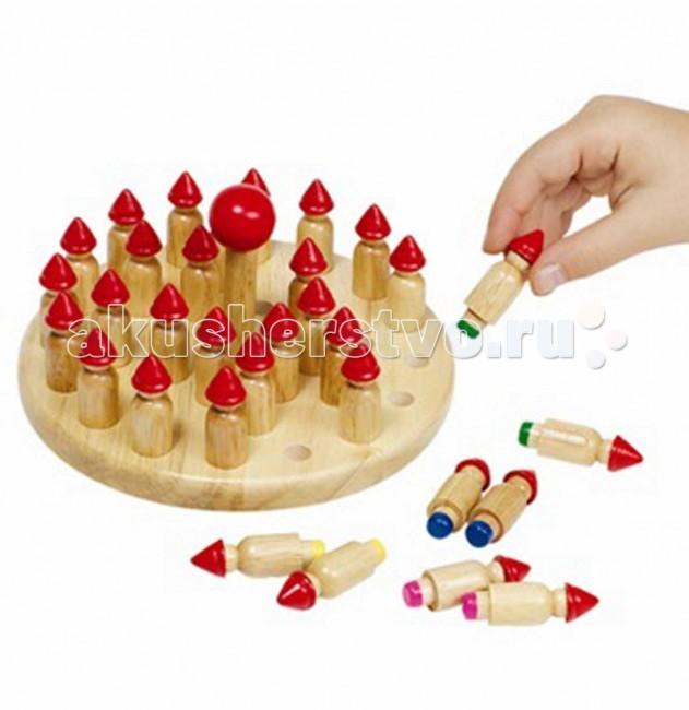 Деревянная игрушка Goki Игра на запоминание ГномыИгра на запоминание ГномыДеревянная игрушка Goki Игра на запоминание Гномы. Игра для развития памяти. Можно играть как одному, так и с другими игроками.Тарелка, юла и 32 фигурки гномов.  Цель игры: Лес гномов - это совершенно особая красочная игра из цельного дерева для развития памяти. С первого взгляда гномы на юле абсолютно ничем друг от друга не отличаются. Однако если вы снимете их с юлы или чуть-чуть приподнимете, то увидите, что некоторые из них имеют цветные ноги. 32 гнома имеют ноги восьми разных цветов, так что только 4 гнома абсолютно одинаковые.  Суть игры заключается в том, чтобы найти пары гномиков одинакового цвета и отложить их в сторону. Выигрывает тот, кто к концу игры найдет наибольшее количество пар.  Подготовка к игре:Все делается очень просто. Сначала Вам необходимо установить всех гномов в небольшие отверстия на юле в произвольном порядке. После этого юла устанавливается в середине тарелки и сильно раскручивается. Теперь никто не знает ,где среди других гномов находится, например ,красный гном.  Правила: Теперь вам необходимо решить, кто начинает игру первым. Это может быть или самый молодой игрок или тот, кому выпадет жребий. Первому игроку разрешается слегка приподнять одного гнома, чтобы увидеть скрытые от глаз цветаегоног. Теперь этот игрок попытается найти второго гнома такого же цвета. Для этого ему разрешается приподнять еще одного гнома. Если этот гном окажется такого же цвета что и первый, то игрок может снять найденную пару с тарелки, заново раскрутить юлу и вновь попытаться найти новую пару .Только после этого как первому игроку не удастся найти пару, в игру вступает другой игрок.  Юла раскручивается после каждой неудачной попытки .поэтому установить ,где находиться, скажем, красный, синий или зеленый гном очень трудно ,особенно в начале игры.Естественно выигрывает тот, кто к концу игры - когда на юле не останется гномов - наберет наибольшее число пар.<br>