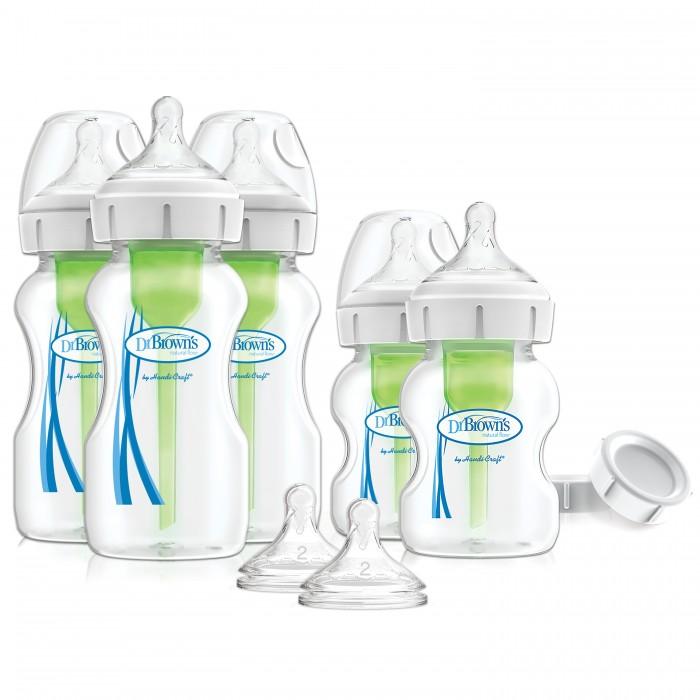 Бутылочка Dr.Brown's Набор из пяти антиколиковых бутылочек Options+ с широким горлышком 3х270 мл, 2х150 мл фото