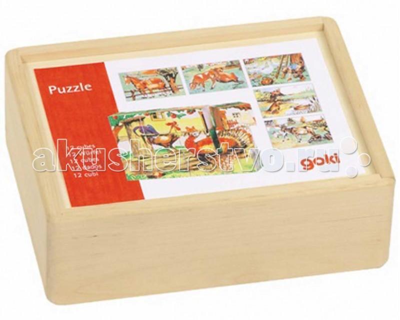 Деревянные игрушки Goki Кубики 3x4 Ферма