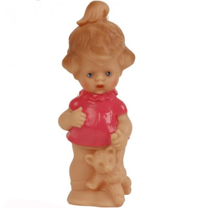 Развивающая игрушка Schildkroet Пищалка виниловая девочка в голубом платье с мишкой 13 см