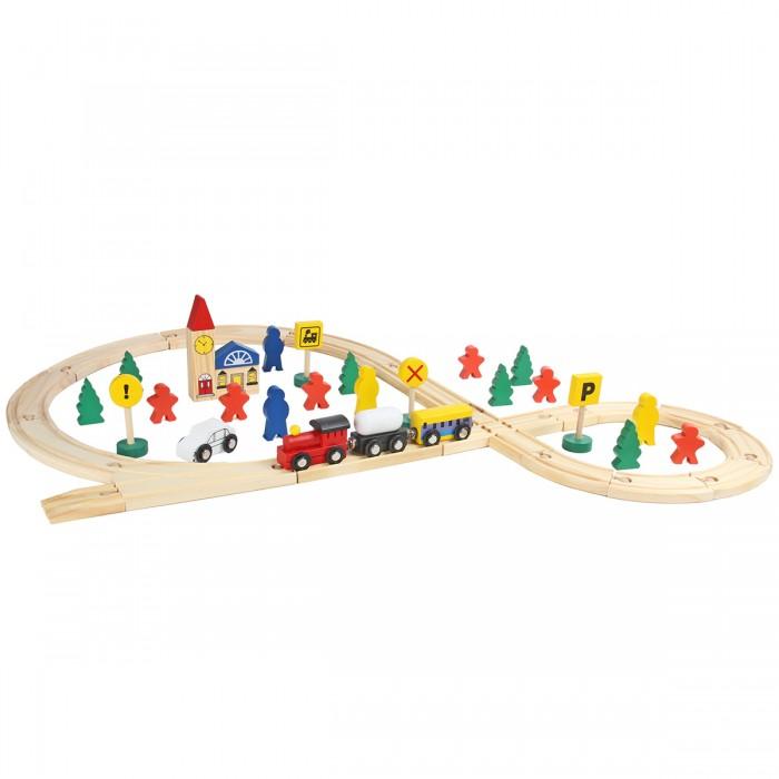 Деревянные игрушки, Деревянная игрушка Фабрика фантазий Железная дорога 48 деталей  - купить со скидкой