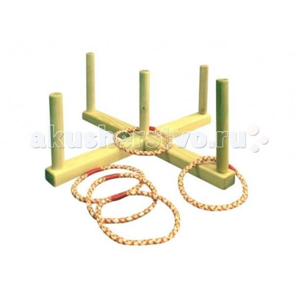 Купить Деревянные игрушки, Деревянная игрушка Kidwood Кольцеброс деревянный с 5 кольцами