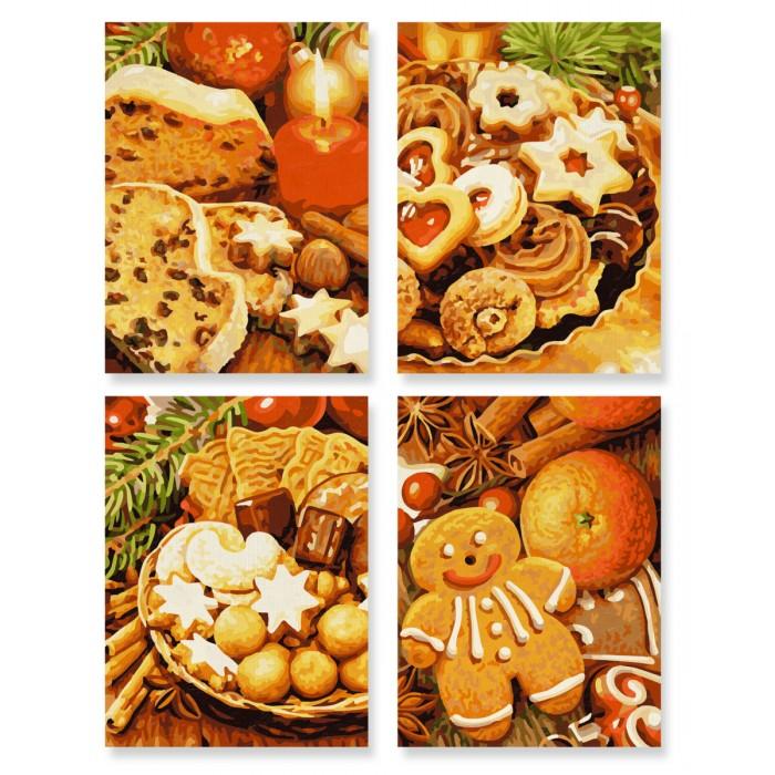 Schipper Картина по номерам 4 шт. Рождественские пряники 18х24 см фото