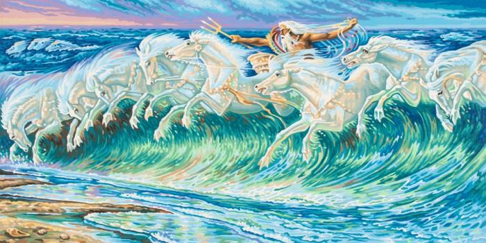 Творчество и хобби , Картины по номерам Schipper Картина по номерам Репродукция Лошади Нептуна Вольтер Крейн 40х80 см арт: 75045 -  Картины по номерам