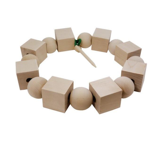 Картинка для Деревянные игрушки RNToys Бусы геометрические неокрашенные