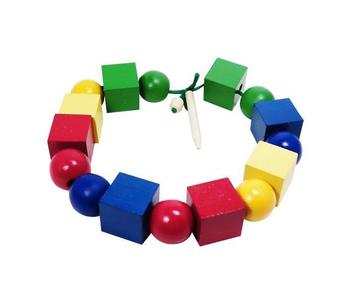 Деревянные игрушки RNToys Бусы геометрические цветные