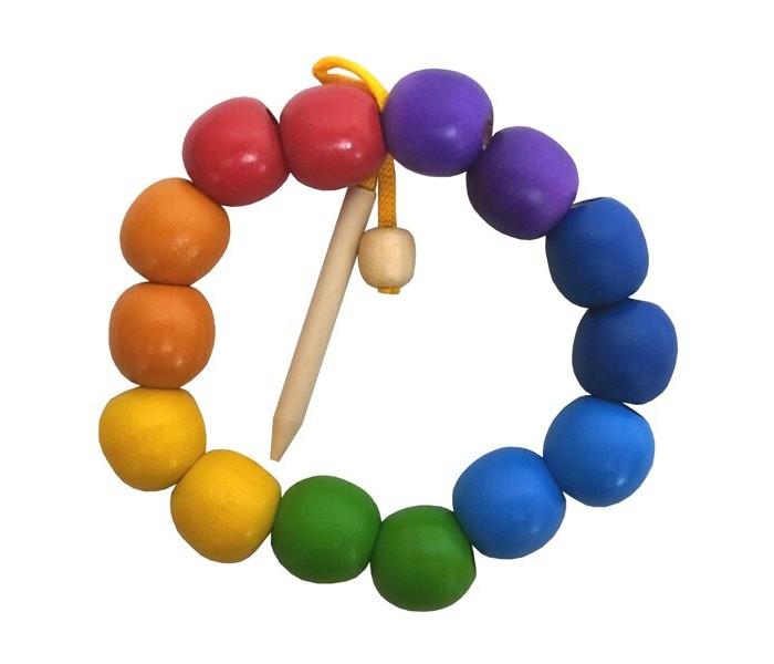 Деревянные игрушки RNToys Бусы Радуга шары малые цветные 14 шт. бусы из дерева унисекс