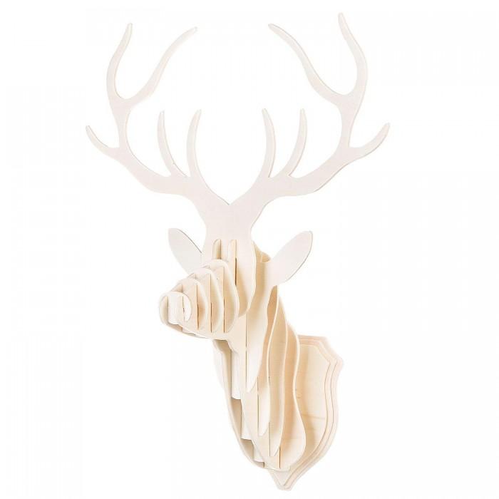 Купить Деревянные игрушки, Деревянная игрушка Bondibon 3D пазл Голова оленя 14 деталей