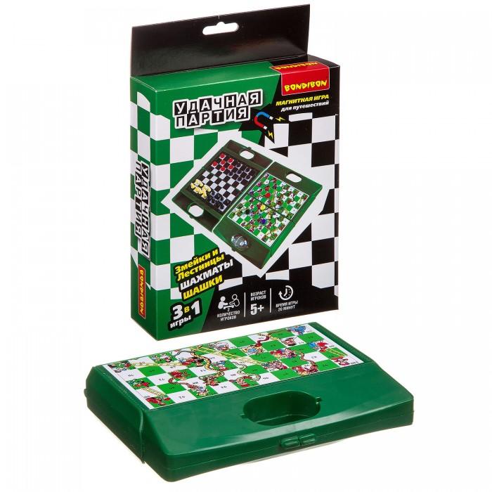 Настольные игры Bondibon Удачная партия 3 в 1 (шахматы, шашки, змейки и лестницы) магнитная игра змейки и лестницы