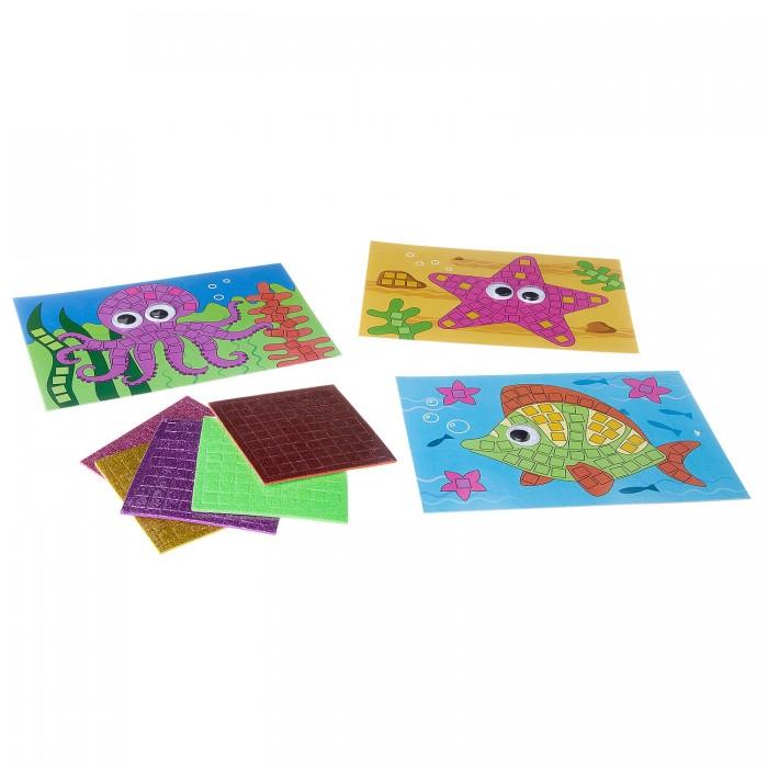 Аппликации для детей Bondibon Набор творчества Блестящая аппликация Морские обитатели