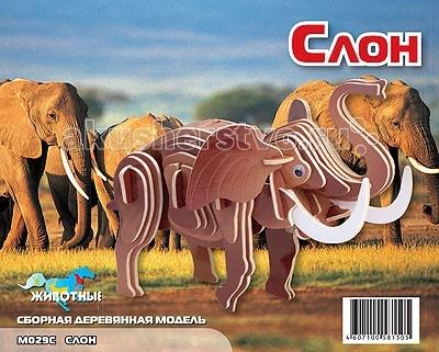 Конструкторы Мир деревянных игрушек (МДИ) Сборная модель Маленький слон цветной