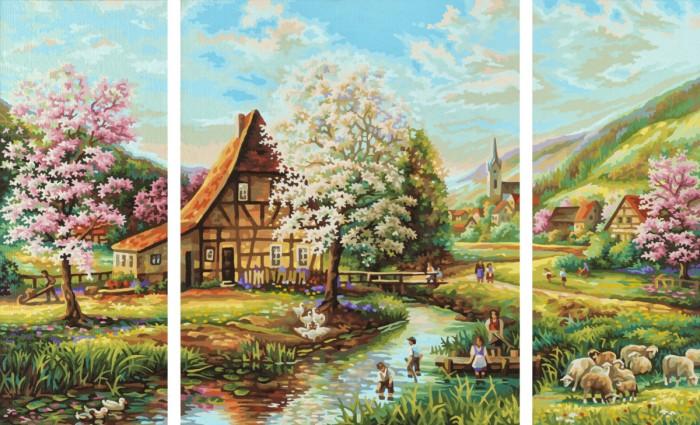 Творчество и хобби , Картины по номерам Schipper Картина по номерам Триптих Страна идиллия 50х80 см арт: 75293 -  Картины по номерам