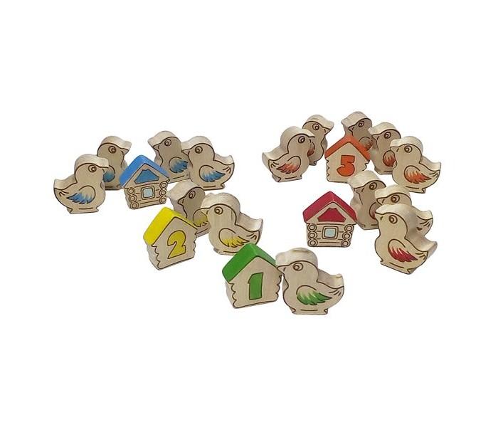 Деревянные игрушки RNToys Дидактический материал Птички с домиками счет до 5