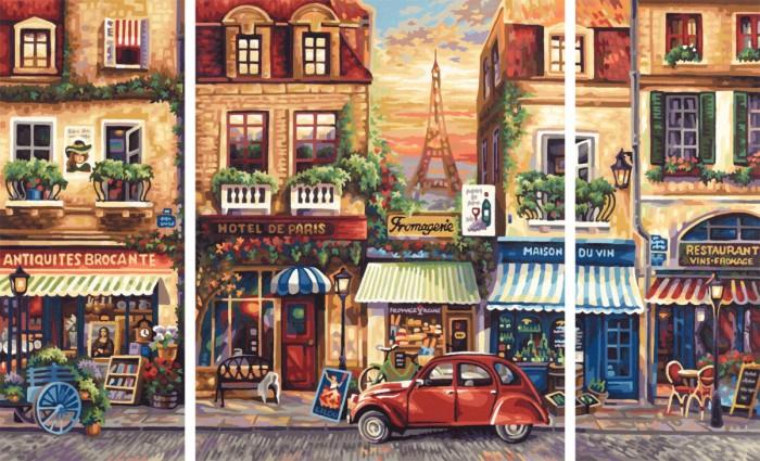 Schipper Картина по номерам Триптих Париж 50х80 смКартина по номерам Триптих Париж 50х80 смКартина по номерам Триптих Париж 50х80 см - это превосходный выбор для юного художника! С этим набором ваш ребенок сможет самостоятельно нарисовать шедевр, который затем можно будет гордо показывать вашим гостям! И все это - совсем нетрудно, ведь при работе с набором используется уникальная система, разработанная немецкой фирмой Schipper.   Раскраски развивают в ребенке творческие способности, малыш учится рисовать, стремится к прекрасному, может проявить фантазию, сочетая разные оттенки между собой.   Особенности:   Основа для картины имеет льняную структуру, поэтому готовая картина выглядит как настоящее произведение искусства.  Картина раскрашивается без смешивания красок.  Все необходимые цвета красок есть в комплекте. Просто закрашивайте участки красками с соответствующим номером.  В набор также входит фактурная картонная основа с пронумерованными контурами, кисть и контрольный лист, на котором вы можете потренироваться, прежде чем переходить к раскрашиванию основного листа.  Акриловые краски в данном наборе содержатся в очень плотно закрытых контейнерах. Благодаря этому, краски доходят до покупателя, сохранив свои свойства.  Размер: 50х80 см<br>