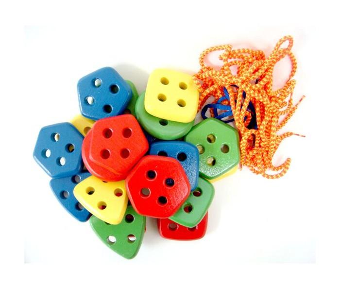 Купить Деревянные игрушки, Деревянная игрушка RNToys Набор геометрических пуговиц Цвет и форма 20 шт.