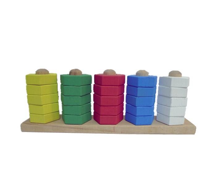 Картинка для Деревянные игрушки RNToys Пирамидка цветная 5 в ряд