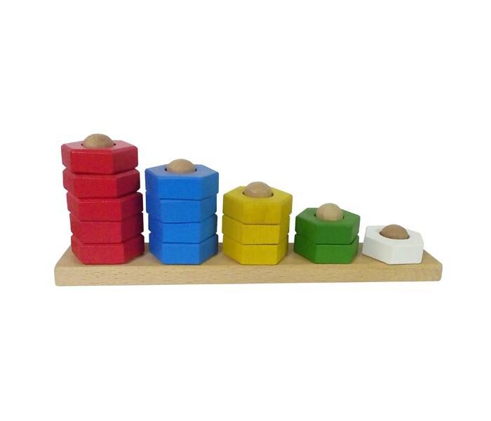 Картинка для Деревянные игрушки RNToys Пирамидка Абака цветная