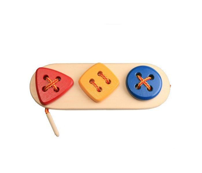 Картинка для Деревянные игрушки RNToys Пуговицы-шнуровки 3 в ряд Геометрия