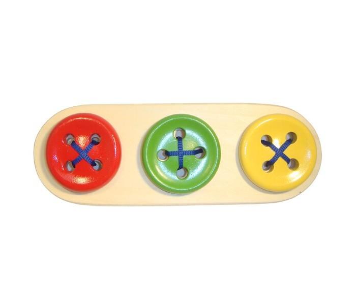Картинка для Деревянные игрушки RNToys Пуговицы-шнуровки 3 в ряд Цвет