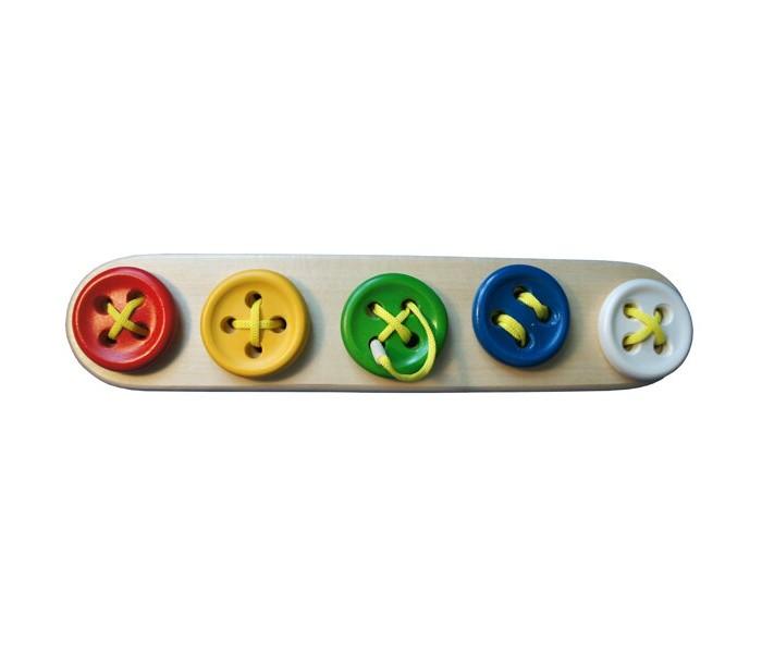 Купить Деревянные игрушки, Деревянная игрушка RNToys Пуговицы-шнуровки 5 в ряд Цвет