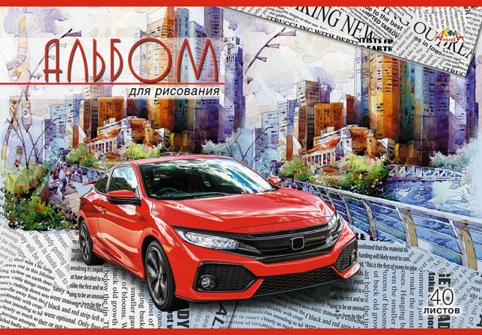 Принадлежности для рисования Апплика Альбом для рисования на скрепке Красный автомобиль 40 листов А4 альбом для рисования апплика а4 40 листов