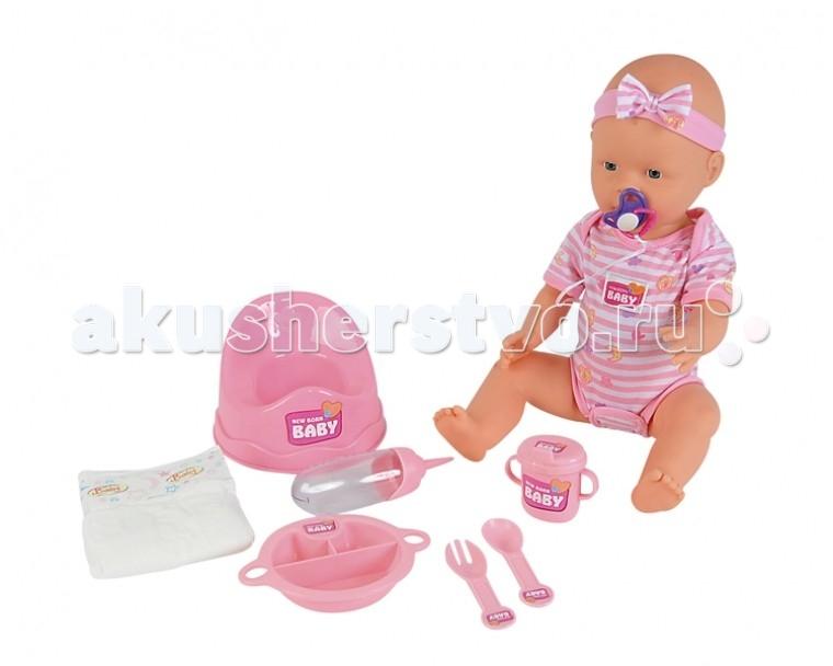 Simba Пупс New Born Baby (пьет, писает) 43 смПупс New Born Baby (пьет, писает) 43 смЗамечательный малыш-пупс станет прекрасным подарком для любой малышки. Ваша кроха сможет заботиться о нем: кормить, менять подгузники, играться с ним.   Играя с пупсом, ребенок сможет научиться заботе и ответственности, а также, получит массу положительных эмоций.   В комплект входят 9 аксессуаров для игрушки, среди которых: ложечка, вилочка, бутылочка, горшочек и тарелочка.   Игрушка сделана из высококачественной пластмассы и безопасна для здоровья малыша.  Комплект: пупс, 9 аксессуаров.<br>