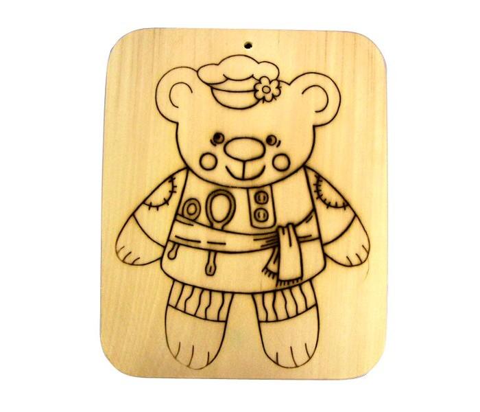 Картинка для Деревянные игрушки RNToys Доска под роспись с контуром Мишка