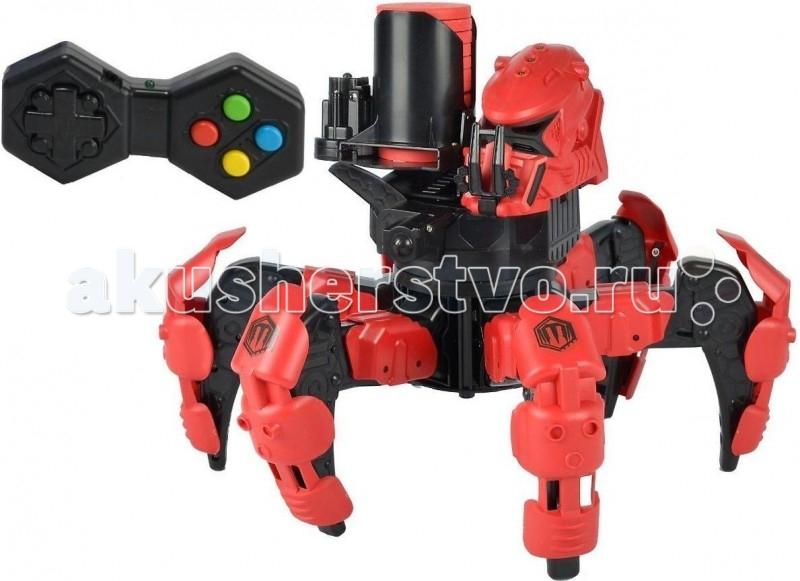 Dickie Боевой робот р/у Doom Razor (звук, свет.) 25 смБоевой робот р/у Doom Razor (звук, свет.) 25 смИнтерактивный боевой робот Doom Razor имеет невероятные характеристики.   Благодаря своей схожести с пауком, он беспрепятственно может перемещаться по любой поверхности.   Для более захватывающей игры, у Дум Резор есть закрепляемая броня на конечностях-лапках, которая отстреливается (отлетает) в случае меткого попадания по ней противником (пистолетом, другим роботом).   Красные светодиоды позволяют играть в темноте, а звуковое сопровождение во время выстрелов делают игру более захватывающей.   Паучий корпус поворачивается на 360 градусов, что исключает возможность подкрасться к нему незамеченным.   Бластер заряжается 12 зарядами, которые изготовлены из мягкого вспененного материала, что гарантирует безопасность при попадании в хрупкие предметы, людей.   Также Doom Razor оснащен датчиком жизней (3 жизни). Робот выключается, когда датчик доходит до нуля. Игрушка заряжается 6 батарейками: 4 шт. - в игрушку, 2 шт. - в пульт.  Комплект: робот, 20 дисков, пуль управления. Тип батареек: 6 х AA / LR6 1.5V (пальчиковые). Размер игрушки: 25 см. Дальность действия пульта: 92 м. Дальность выстрела: 9 м.<br>