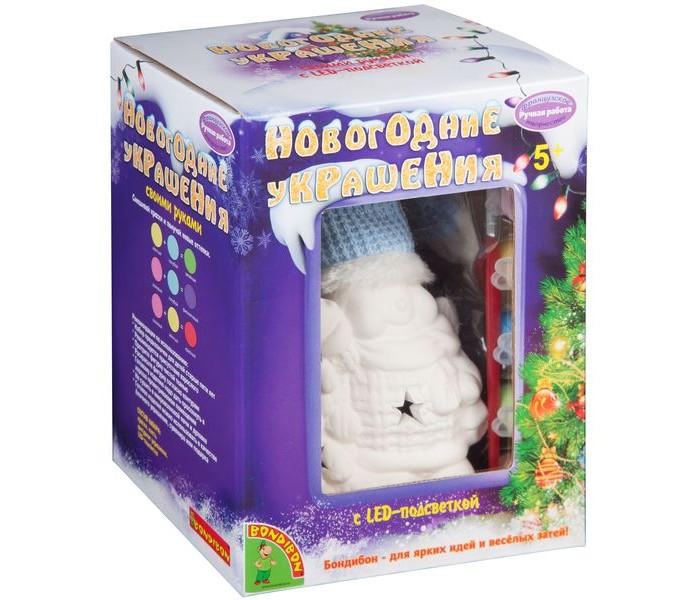 Заготовки под роспись Bondibon Набор для творчества Новогодние украшения Снеговик с подсветкой Led недорого