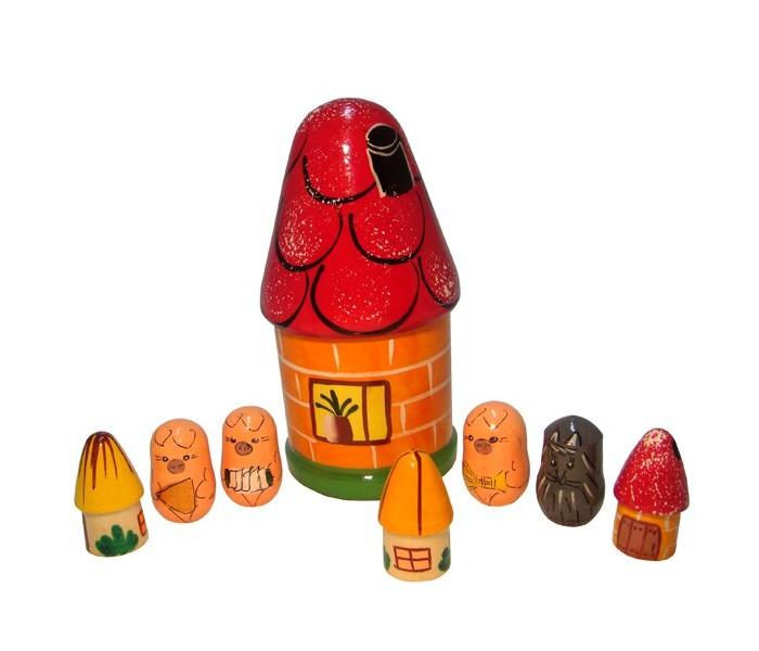 Деревянные игрушки RNToys Пальчиковый театр в домике Три поросенка