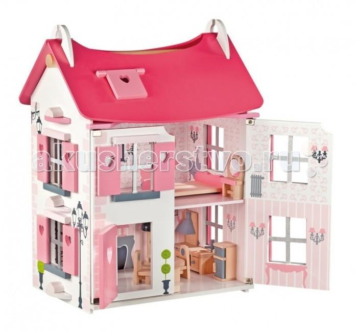 Janod Кукольный домик Мадмуазель с мебелью и кукламиКукольный домик Мадмуазель с мебелью и кукламиJanod Кукольный домик Мадмуазель с мебелью и куклами воплотит в реальность заветные детские мечты. Он выполнен в нежных розово-белых тонах, украшен окошками со ставнями, которые можно открывать. Вместительный двухэтажный дом с мансардой имеет нескольких комнат со всей необходимой мебелью внутри.   В доме живет дружная семья, состоящая из двух человек. Во время игры домик можно открывать и закрывать. Для того, чтобы попасть внутрь помещения, необходимо раскрыть лицевые фасады. Все элементы набора выполнены из высококачественной древесины и покрыты безвредной краской, они не имеют острых углов и совершенно безопасны для ребёнка. Удобная ручка между панелями крыши домика позволяет легким захватом руки переносить его с места на место.  В наборе: кукольный домик; 15 элементов мебели; 2 куколки.<br>
