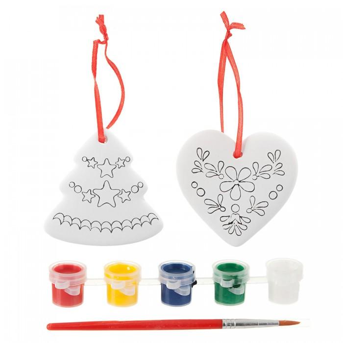 Заготовки под роспись Bondibon Набор для творчества Ёлочные украшения (ёлочка, сердце) недорого
