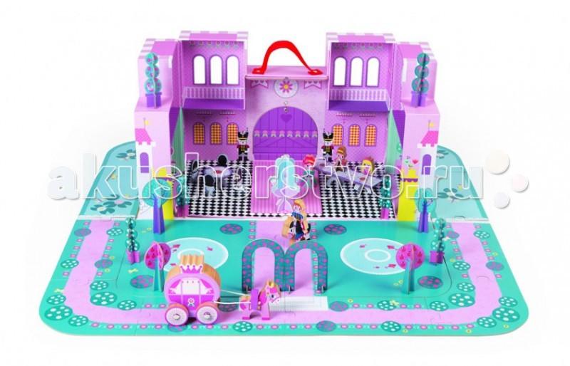 Конструктор Janod Замок принцессы с 28 аксессуарамиЗамок принцессы с 28 аксессуарамиКонструктор Janod Замок принцессы с 28 аксессуарами - состоит из разнотипных заданий, которые в итоге помогут малышке сформировать свое королевство. Конструкция включает в себя 16 крупных пазлов, которые оформляют террасу и пруд, 3 фигурки принцесс, 1 принца, а также дополнительных элементов в виде кареты, столиков, стульев, деревьев и самого замка.  В наборе: 3 принцессы, 1 карета, 2 лошади, 1 принц, 4 дерева, 6 кустов, 1 фонтан, 1 зеркало, 1 торт, 1 стол, 4 стула, 16 пазлов площадки с красивой набережной.   Все элементы набора выполнены из высококачественных древесины и картона, покрыты безвредной краской и совершенно безопасны для ребёнка. Ваш ребенок будет в восторге от такого подарка!<br>