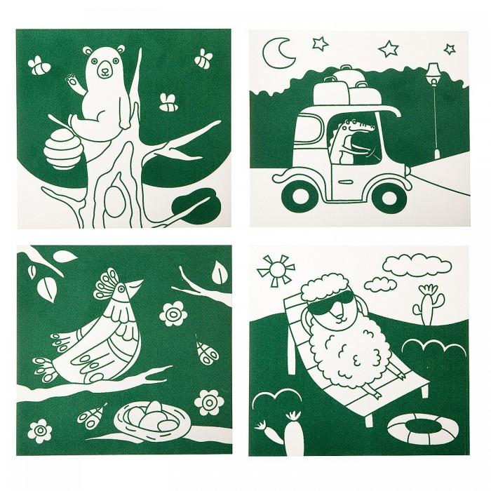 Картинка для Раскраски Bondibon Набор для творчества Бархатные раскраски зеленый фон