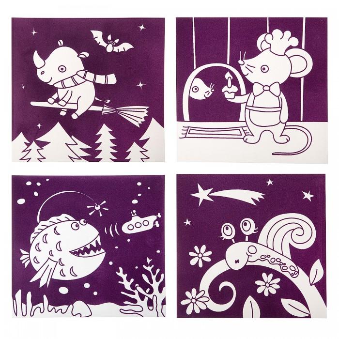Картинка для Раскраски Bondibon Набор для творчества Бархатные раскраски фиолетовый фон