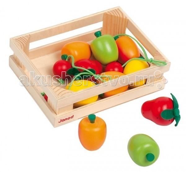 Деревянная игрушка Janod Набор фруктов в ящике 12 элементовНабор фруктов в ящике 12 элементовДеревянная игрушка Janod Набор фруктов в ящике 12 элементов - замечательно подойдут в качестве аксессуаров для сюжетно-ролевых игр. Они пригодятся ребенку, который учится готовить, играя с детской кухней, или же для игры в магазин.   Яркие и веселые, приятные на ощупь деревянные фрукты с мягкими тканевыми хвостиками, которые можно складывать в симпатичный ящик, очень понравятся Вашему малышу. Они специально сделаны не очень большими по размеру, чтобы удобно помещаться в маленькой детской ручке. Не отказывайте ребенку, если он попросит Вас заказать этот чудесный набор.    В комплекте:  ящик  12 овощей.<br>