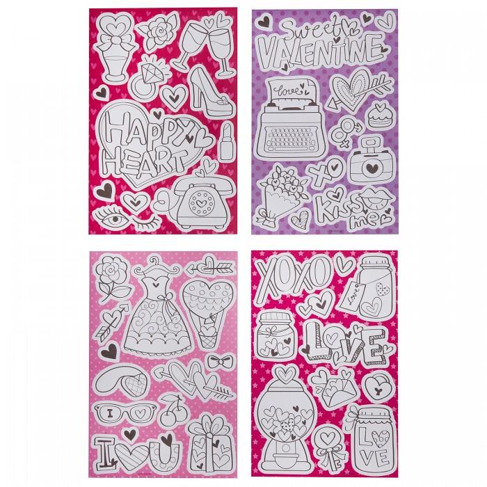 Картинка для Детские наклейки Bondibon Набор наклеек-раскрасок Гламур 4 листа