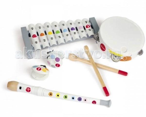 Музыкальная игрушка Janod Набор белых музыкальных инструментов - металлофон, флейта, бубен, кастаньетыНабор белых музыкальных инструментов - металлофон, флейта, бубен, кастаньетыДеревянная игрушка Janod Набор белых музыкальных инструментов - металлофон, флейта, бубен, кастаньеты. Разные звуки, разный способ игры, возможность сочетания – все это откроет в Вашем малыше талант музыканта и разовьет слух.   Игрушки издаю гармоничные, но негромкие звуки, что не сможет не порадовать родителей юного музыканта.   В наборе специально подобраны не похожие друг на друга предметы.   Металлофон представляет собой клавишный инструмент с палочками для игры, в тамбурин можно стучать ладошками, из флейты звуки извлекаются дуновением, а кастаньеты хлопают друг о друга, когда ребёнок сжимает ладошки.   Все инструменты окрашены натуральными, безопасными красителями.<br>