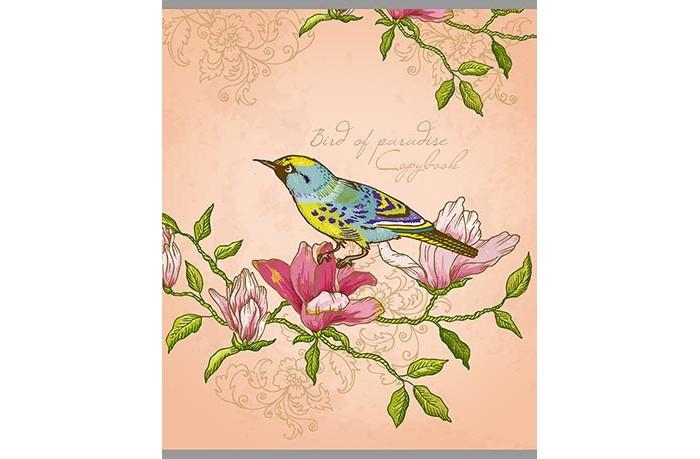 Картинка для Тетради Апплика Тетрадь Птичка и цветок клетка А5 (80 листов)