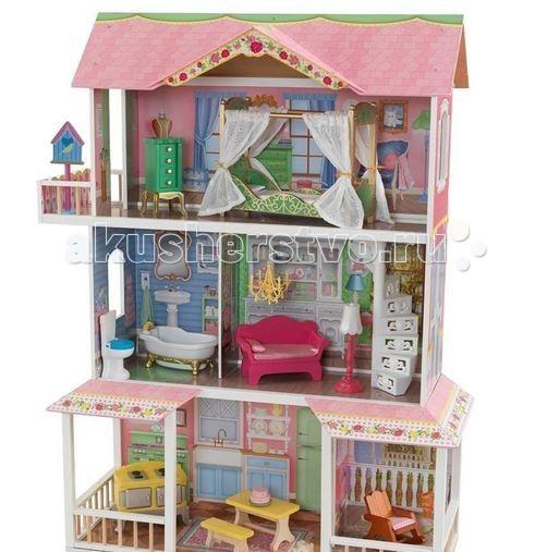 KidKraft Деревянный дом Карамельная Саванна с мебельюДеревянный дом Карамельная Саванна с мебельюKidKraft Деревянный дом для Барби Карамельная Саванна (Sweet Savannah) с мебелью осчастливит вашу девочку. Три этажа этого очаровательного милого коттеджа откроют ряд новых возможностей для игры с любимыми куклами. Здесь можно будет поселить целую кукольную семью и ежедневно придумывать для них разнообразные истории.   Домик выполнен в нежных пастельных тонах. На трех этажах разместились разные комнатки, каждая из которых прекрасно декорирована и обставлена всей необходимой мебелью (в комплекте предусмотрено 13 предметов).   На первом этаже находится стильная столовая и небольшая гостиная. Над ними - уборная и уютный зал, где можно принимать гостей или пообщаться в кругу семьи. На верхнем этаже расположена милая спальная комната и роскошный балкон. Сюда ведет белая винтовая лестница.   В комплекте: большой дом  элементы мебели и аксессуаров  инструкция по сборке.<br>