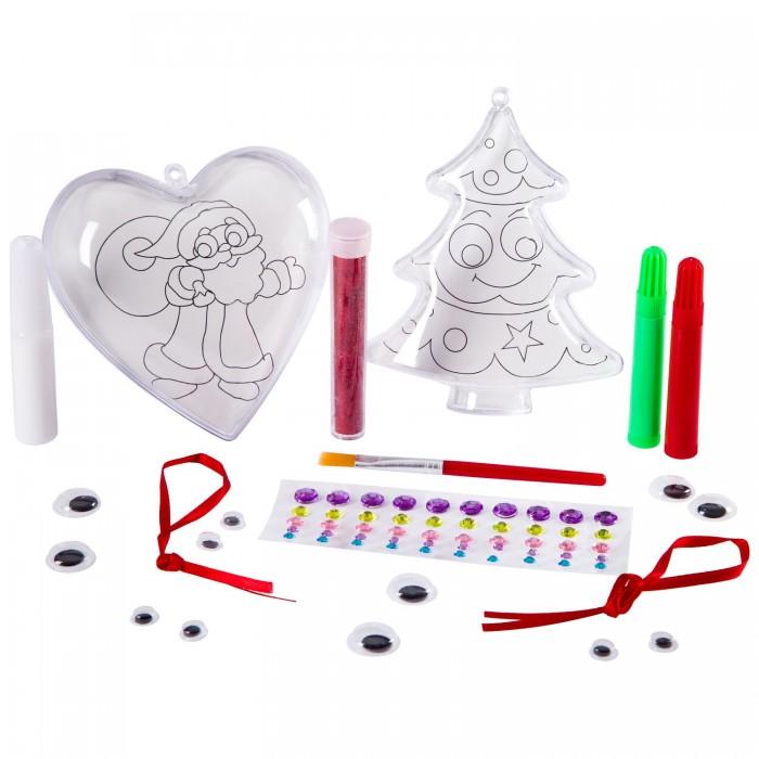 Наборы для творчества Bondibon Набор для творчества Новогодние фигурки своими руками с сюрпризом (ёлочка, сердце)