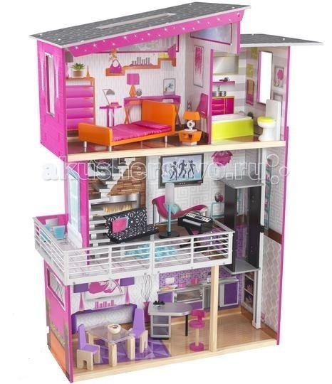 KidKraft Дом для куклы Роскошный дизайн с мебелью и интерактивомДом для куклы Роскошный дизайн с мебелью и интерактивомKidKraft Дом для Барби Роскошный дизайн (Luxury) с мебелью и интерактивом сделан в современном стиле, в ярких красочных цветах, обязательно вызовет восторг у любой девочки.   Дом в три этажа включает в себя: четыре большие комнаты, балкон, лестница и лифт включает в себя 14 предметов мебели в домике есть большие окна, через которые куклы могут любоваться пейзажем домик очень большой, одновременно в нем могут играть несколько детей. Для развития фантазии в домике можно перемещать мебель с одной комнаты в другую в кукольном домике есть 4 комнаты, а именно кухня, ванная, гостиная, спальня  ванная комната расположена на третьем этаже, в ней находится унитаз и ванна возле ванной комнаты находится спальня, в ней есть кровать, куда можно уложить куклу, прикроватная тумбочка и лампа настольная на втором этаже находится гостиная комната с выходом на балкон. В нет есть диван, синтезатор с музыкой и лампу со светом  на третьем этаже расположена спальня домик оснащен рядом интерактивных элементов, а именно озвученные туалет (звук слива воды) и пианино, лампа с освещением.  Для кукол высотой до 30 см.<br>