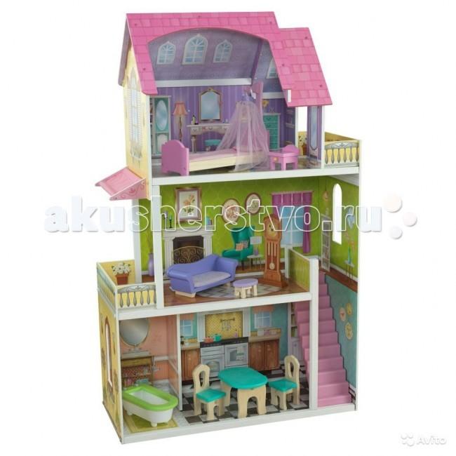 KidKraft Кукольный домик Флоренс Florence с 10 предметами мебелиКукольный домик Флоренс Florence с 10 предметами мебелиKidKraft Кукольный домик Барби Флоренс Florence Dollhouse) с 10 предметами мебели. Домик состоит из 3 этажей, представленных ванной комнатой, столовой, гостиной, спальней, двумя просторными балконами, лестницей.   Дом укомплектован 10 предметами интерьера и мебелью, среди которой кровать, тумбу, диван, ванну, часы и другие аксессуары.   В наборе: домик  10 игровых элементов.<br>